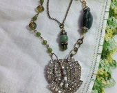 Vintage Rhinestone Repurposed Art Dress Clip Pendant Necklace Green Stones Agate Aventurine Long Layered Brass Chains OOAK WishAnWearJewelry
