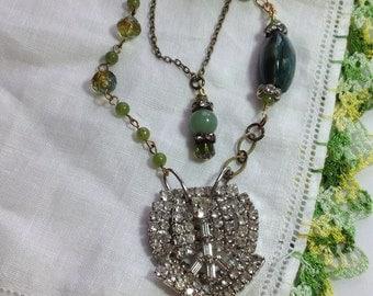 Vintage Rhinestone Repurposed Art Dress Clip Pendant Necklace Green Stones Agate Aventurine Long Layered Brass Chains OOAK WishAnWearJewelry