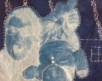 Saturn 2 cyanotype and thread drawing in white blue