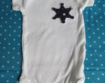 Sheriff badge iron on applique - make a police baby costume or tee
