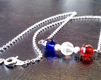 Patriotic crystal silver necklace.