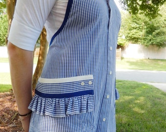 Blue Check - Upcycled apron from man's shirt