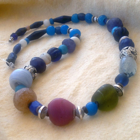 ancient roman glass necklace at Lord of the Beads on Etsy