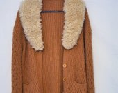 1970's Sweater Jacket with Fur Lined Collar