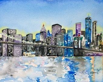 Watercolor city, Cityscape, watercolors paintings original, watercolor, watercolor skyline, New York skyline, nyc skyline, new york city