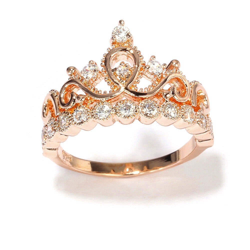 Rose Gold-plated Sterling Silver Crown Ring / Princess Ring Gold Princess Crown