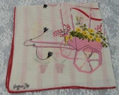 "Artist Signed Virginia Zito Handkerchief - Vintage Hankie - ""Hanky""   Flower Cart Reminiscent of Paris -Sewing, Crafting Collecting Lot B-39"
