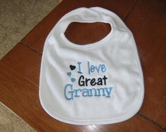 Embroidered Baby Bib - I Love Great Granny - Boy
