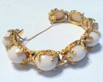 Vintage Panetta Faux Coral Brutalist Modernist Gold Tone Bracelet Earring Set