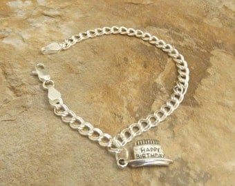 Sterling Silver Traditional Charm Bracelet with a Sterling Silver Birthday Cake Charm - 1576
