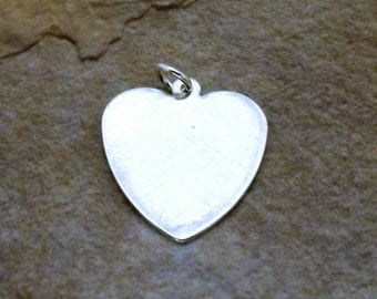 Sterling Silver Large Heart Charm With Free Engraving - 2390