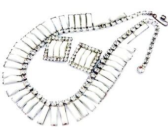 Kramer Art Deco Jewelry Necklace Earrings 1950 Vintage Collectible Lucite Rhinestone Signed Kramer New York White Christmas Wedding