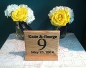 "Table Number Signs for Wedding or any occasion. 6"" X 6"" Square with base. Oak"