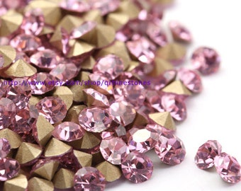 Light Pink Chaton Rhinestone pointed back 1440pcs 2mm 3mm 4mm