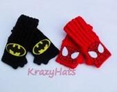 Batman,Spider Man hand warmers.Crochet handwarmers.