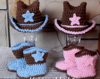 Crochet Cowboy hat and boots. Made to order.