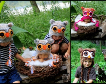 Crochet Fuzzy Owl hat.Made to order.