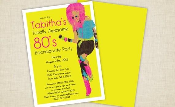 80's Glam Girl Bachelorette Party Invitations