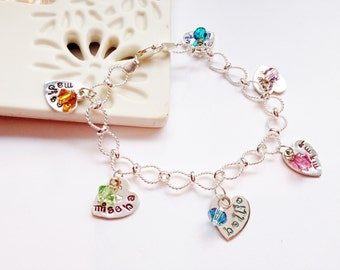 Hand Stamped family names heart charm bracelet personalised multi namemulti charms keepsake sterling silver UK