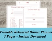 INSTANT DOWNLOAD Rehearsal Dinner Planner PDF Wedding Planning -  3 Pages