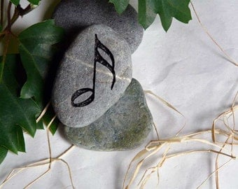 Light Green Musical Note with Flag Engraved Natural Stone