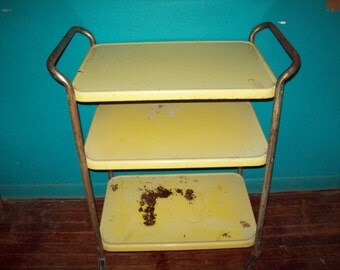 retro kitchen yellow vintage 1950s serving cart tray lile cosco