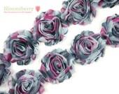 "2.5"" PRINTED Shabby Rose Trim - Pink/Gray Camo  - Camoflage Shabby Trim -Chiffon Trim - Hair Accessories Supplies"