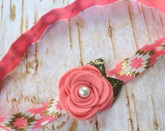Coral and Gold  Wool Felt Headband, Baby Headband, Flower Headband, Coral Headband. Gold Glitter