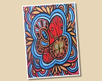Hippie Love Limited Edition Giclee Print 8x10 Signed and Numbered