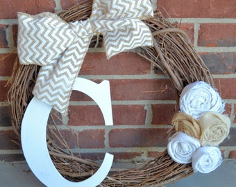 Burlap Monogram Chevron Bow Wreath