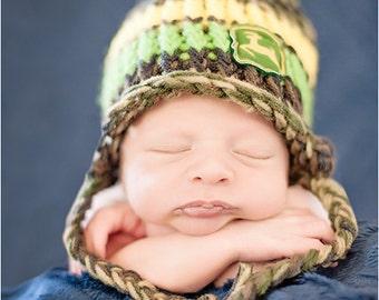 Boy/Girl/Newborn-Child/Handmade/ Knit/ Camo/Green/Yellow/Jumping Deer/Tassel Hat/Photo Prop