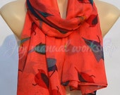 Fashion Cute Red Bird Print Scarf, colorful bird cotton scarf, shawl, soft comfort women accessories