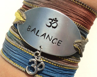 Balance Silk Wrap Bracelet Yoga Jewelry Namaste Om Ohm Unique Gift For Her or Him Teacher Christmas Stocking Stuffer Under 50 Item K61