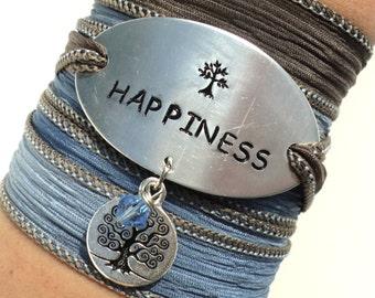 Happiness Silk Wrap Bracelet Yoga Jewelry Tree of Life Wisdom Friendship Love Teacher Unique Gift For Her Stocking Stuffer Under 50 Item K63