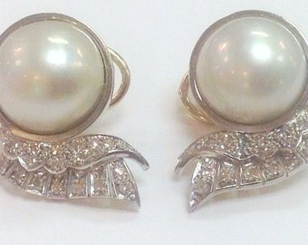 14k MABE PEARL EARRINGS  - Art Deco - Fully Hallmarked/ Stamped - Brilliant Rose Cut Diamonds - Classic - Elegant - Timeless