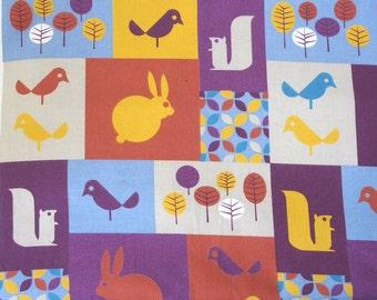 Scandinavian woodland animals and birds organic cotton fabric half metre