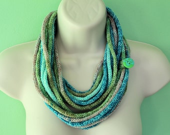 Circle Scarf Knit Cowl - ICord Infinity Scarf Rope Cowl Scarf in blue and green, knit necklace - READY TO SHIP - Fall Fashion