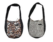 Animal print shoulder bag, reversible tote bag with pockets, upcycled recycled repurposed hobo bag. Black, white and brown, one of a kind.