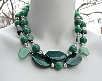Chunky Statement Necklace, Big Agate Necklace, Emerald Green Dragon Veins Agate, Aventurine, Natural Stone, Double Strand  671