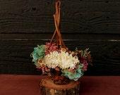 Hydrangea Flower Girl Basket, Cottage Chic Grapevine Basket, Dried Flower Wedding Basket, Flower Girl Wedding Basket, Sola Flower Basket