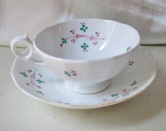 1860 English Hand Painted Porcelain Tea Cup and Saucer Bowl,Floral Motif. Wedding Gift, Housewarming Gift, Mothers Day Gift, Christmas Gift