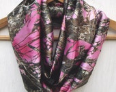 Pink Camo Satiny Soft Infinity Scarf, True Timber Camo Scarf