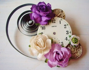SOLD   Upcycled Wedding Watch Part 'Alice In Wonderland' Purple White and Green Flower Hair Clip