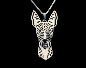Wire-Haired Ibizan Hound - sterling silver pendant and necklace.