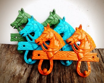BOLD shabby chic orange kelly green & turquoise blue horse double wall hook // country rustic // coat towel key hook // western nursery