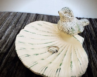 BOLD  BIRD on a shell soap dish business card holder // ivory white green patina // bathroom office // rustic woodland // SPRING shabby chic
