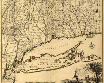 1777 MAP of Connecticut DIGITAL DOWNLOAD Revolutionary War Period Map of the State of Connecticut