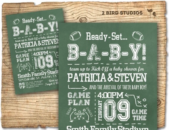 football baby shower invitation in chalkboard style football