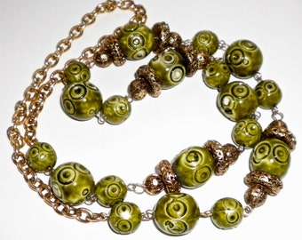 Vintage BEADS & CHAIN  NECKLACE Olive Green beads and Golden Chain  Circa 1970