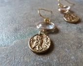 Petite crystal and coin earrings. Reversible.